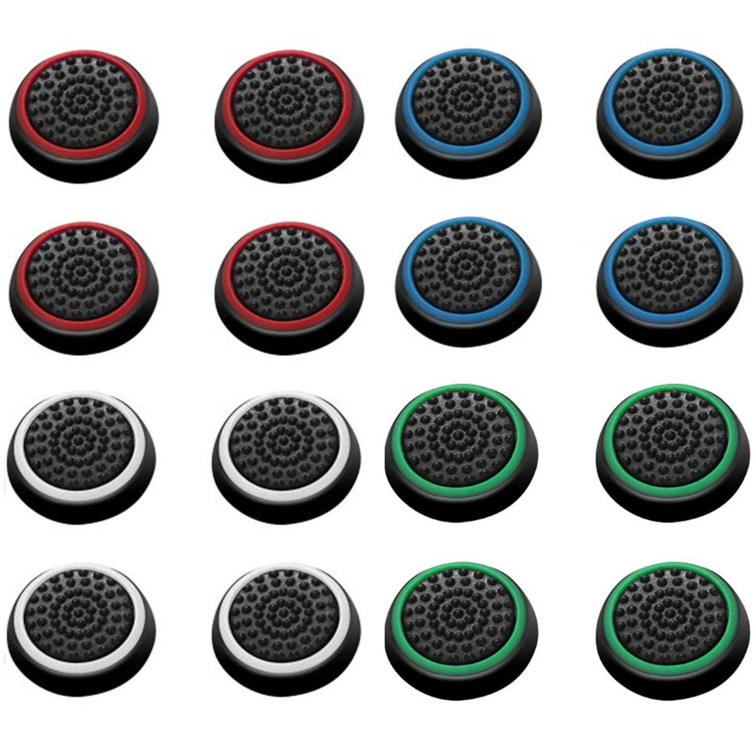 Insten 16 pcs Green/Red/Blue/White Controller Analog Thumbstick Cap for Xbox 360/Xbox One Sony PlayStation 2/3/4