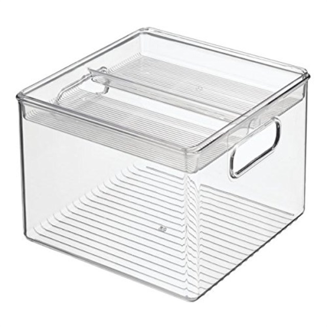 InterDesign 2Piece Kitchen Bin with Removable Divided Tray for Food Storage Clear