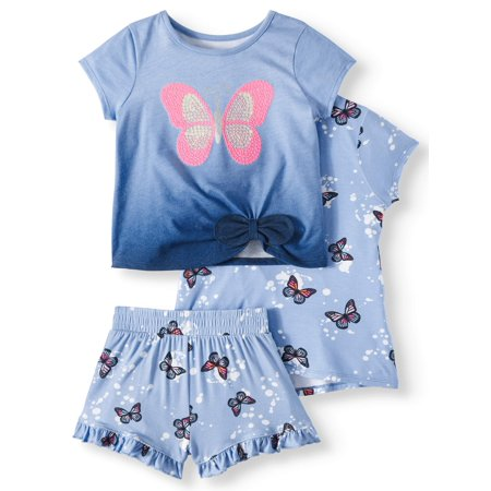 Garanimals Lace-Up Top, Side-Tie Top, & Printed Ruffle Shorts, 3pc Outfit Set (Toddler Girls) - Santa Outfits For Girls