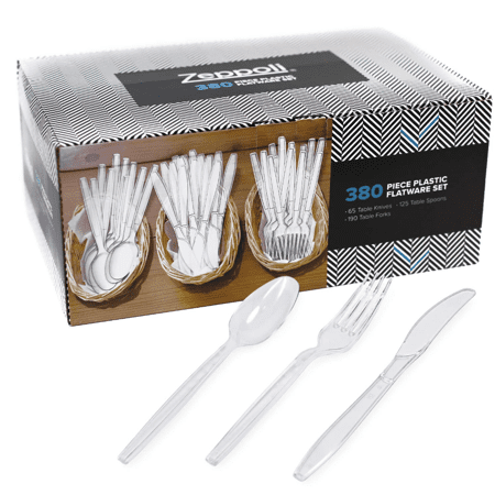 PLASTIC FORKS PICKER HEAVY DUTY CLEAR PLASTIC FORKS DISPOSABLE CUTLERY PARTY SET