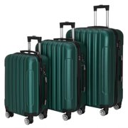 Zimtown 3 Piece Nested Spinner Suitcase Luggage Set With TSA Lock Dark Green