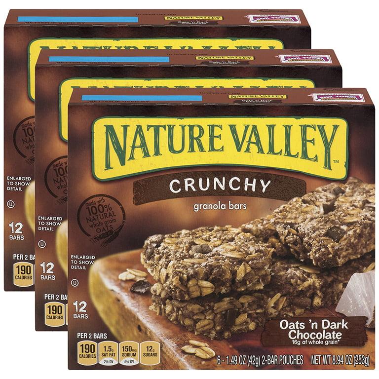 (3 Pack) Nature Valley Crunchy, Oats & Dark Choc, 12 Ct Granola Bars