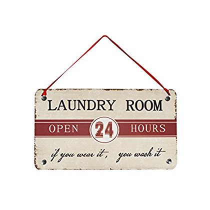 Attraction Design Laundry Room Metal Antique Wisdom Sign, 5' (Antique Powder Room Sign)