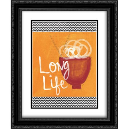- Long Life 2x Matted 20x24 Black Ornate Framed Art Print by Woods, Linda