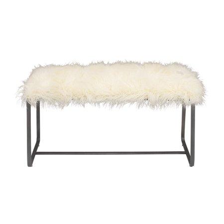 Awe Inspiring Decmode Contemporary 22 X 42 Inch White Faux Fur Rectangular Bench Uwap Interior Chair Design Uwaporg