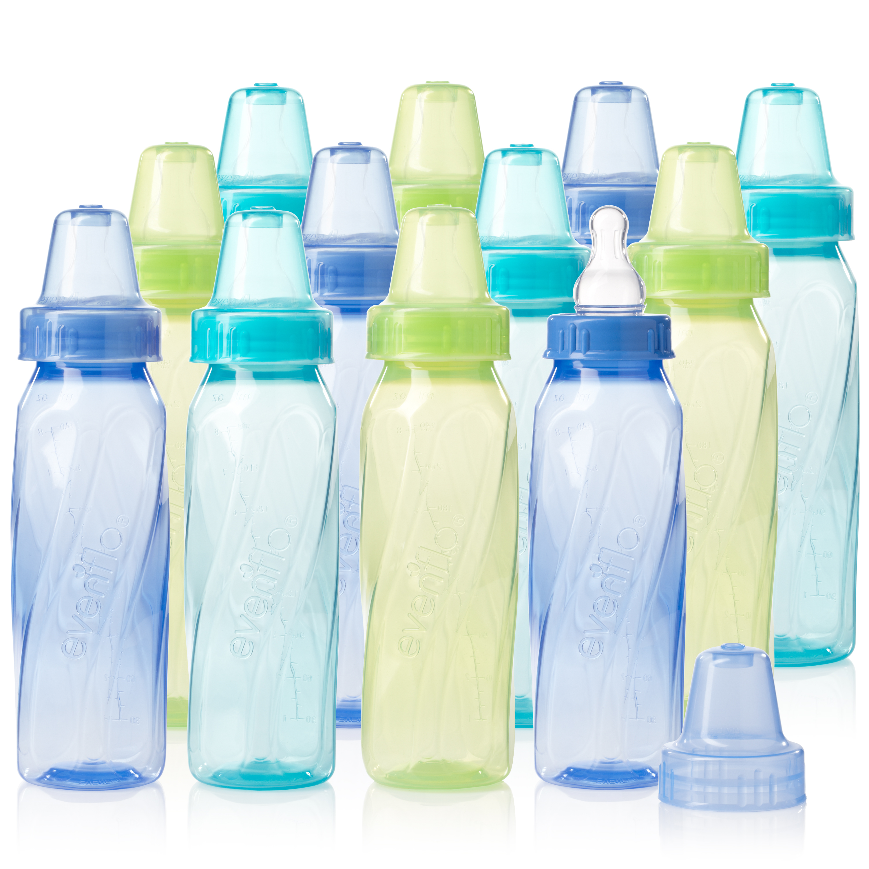 Evenflo Feeding Classic Tinted BPA-Free Plastic Baby Bottle - 8oz, Teal/Green/Blue, 12ct