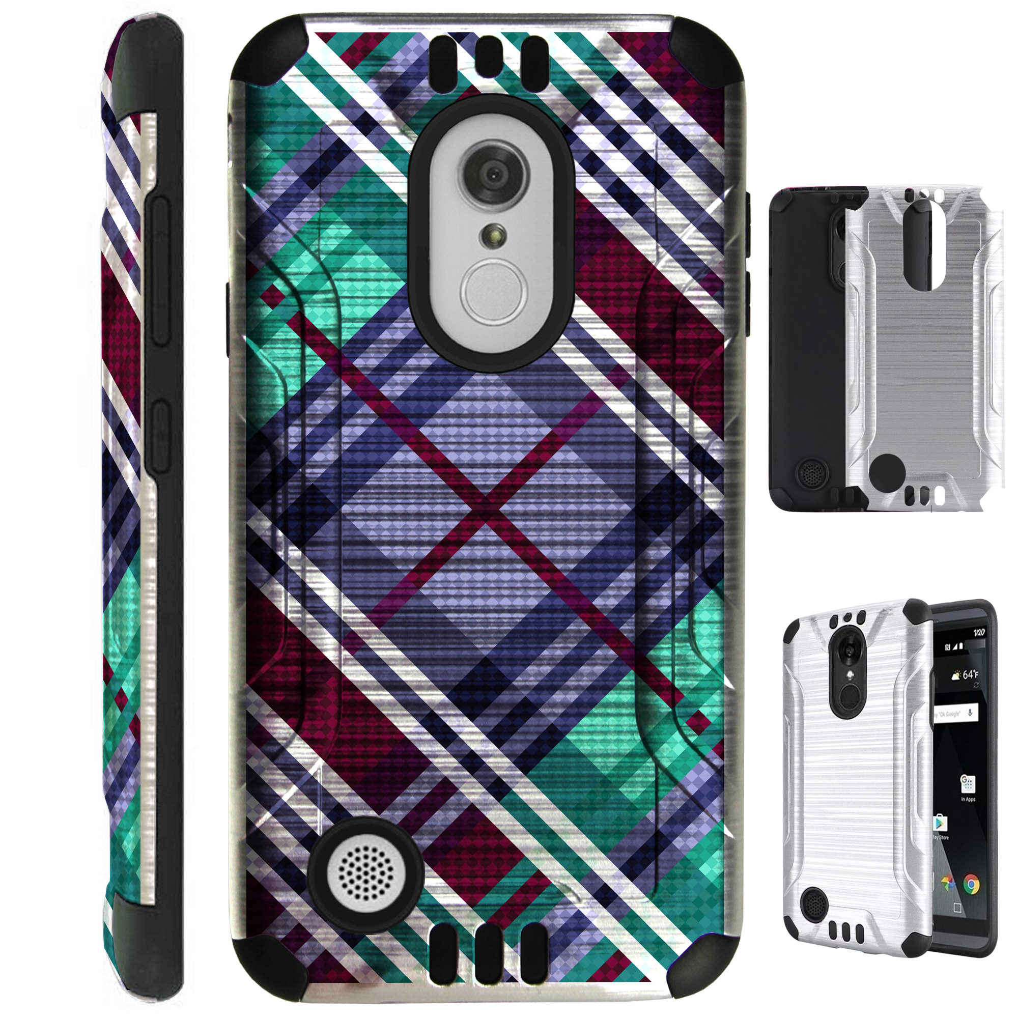 For LG Aristo 2 / LG Tribute Dynasty / LG K8 (2018) / LG Fortune 2 / LG Zone 4 (2018) Case Brushed Metal Texture Hybrid TPU Silver Guard Phone Cover (Purple Plaid)