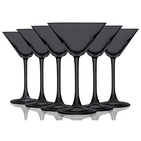 Black Colored Martini/Cocktail Glasses Fully Colored - 10 oz. Set of 6- Additional Vibrant Colors Available by TableTop King