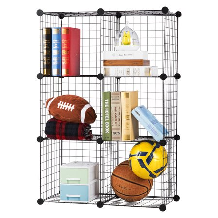 LANGRIA 6-Cube DIY Wire Grid Bookcase, Multi Use Modular Storage Shelving Rack, Open Organizer Cabinet for Books, Toys, Clothes, Tools, Max Capacity 44 lbs (20 Kg) per Cube, Black