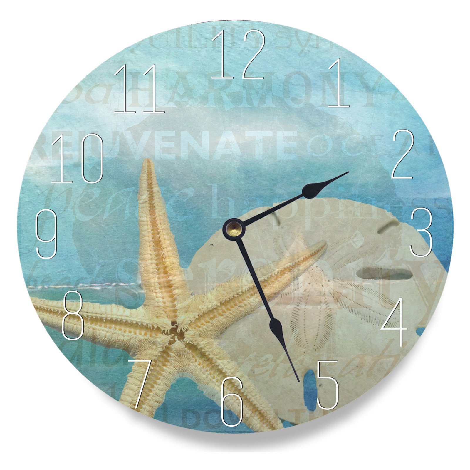 The Stupell Home Decor Collection 12 in. Beach Starfish Light Blue Typography Decorative Vanity Wall Clock