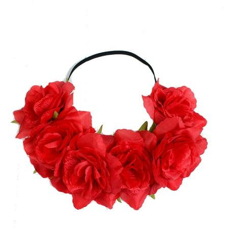Rose Flower Hair Band (Large Rose Flower Forehead Hair Headband Hair Crown Summer Festival Garland)