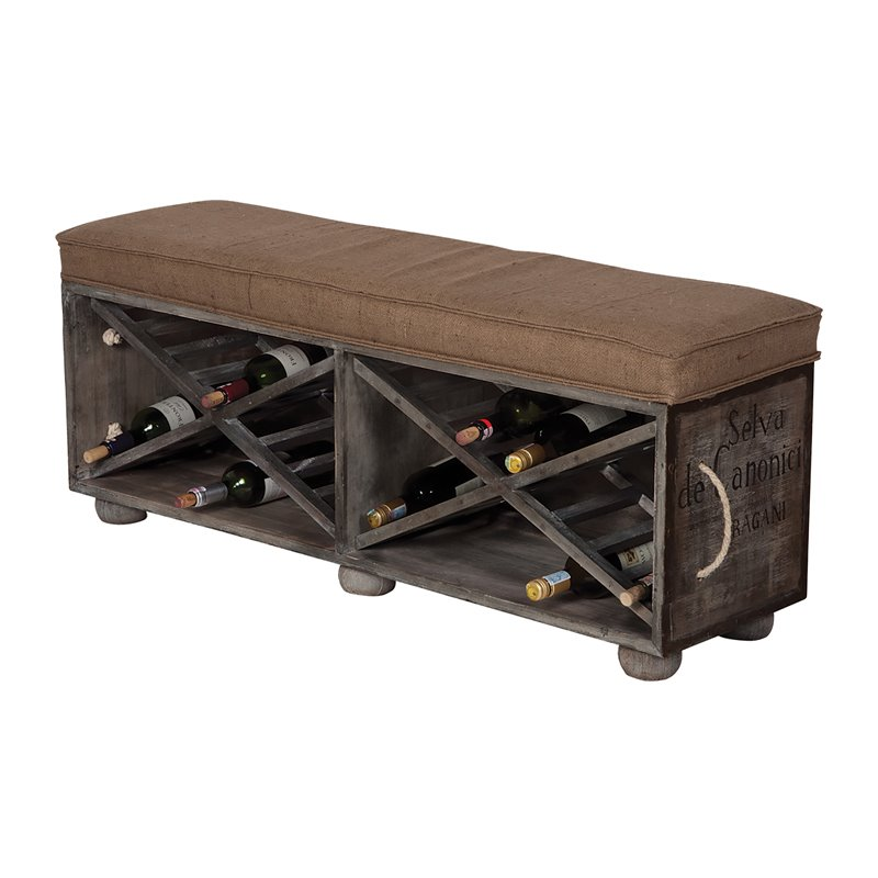 GuildMaster Wine Rack Kitchen Bench in Gray