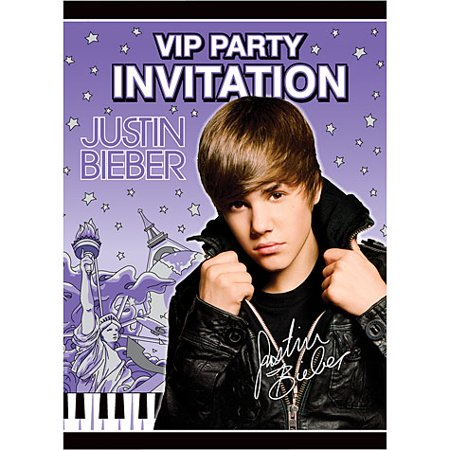 8 Justin Bieber Invitations - Justin Bieber Invitations