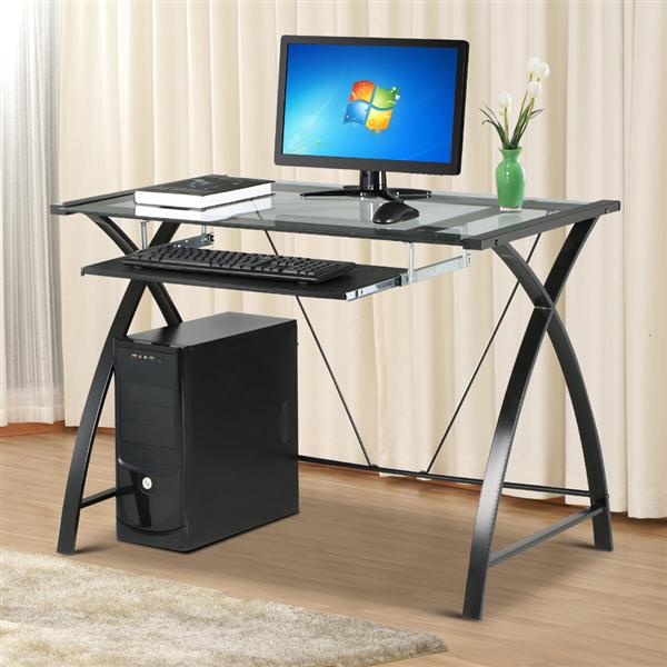 Yaheetech Tempered Glass Table Top Computer Desk Black Metal Frame/Leg Pull  Out Keyboard Tray