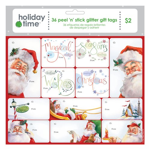 Holiday Time Glitter Gift Tags, Red/White, 36-Pack