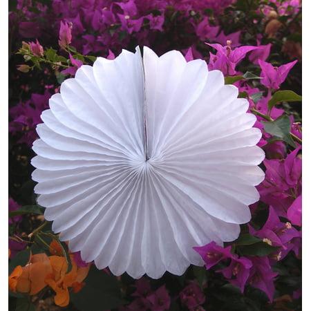 Quasimoon 8 white tissue paper flower rosette fan decoration 6 quasimoon 8 white tissue paper flower rosette fan decoration 6 pack by paperlanternstore mightylinksfo