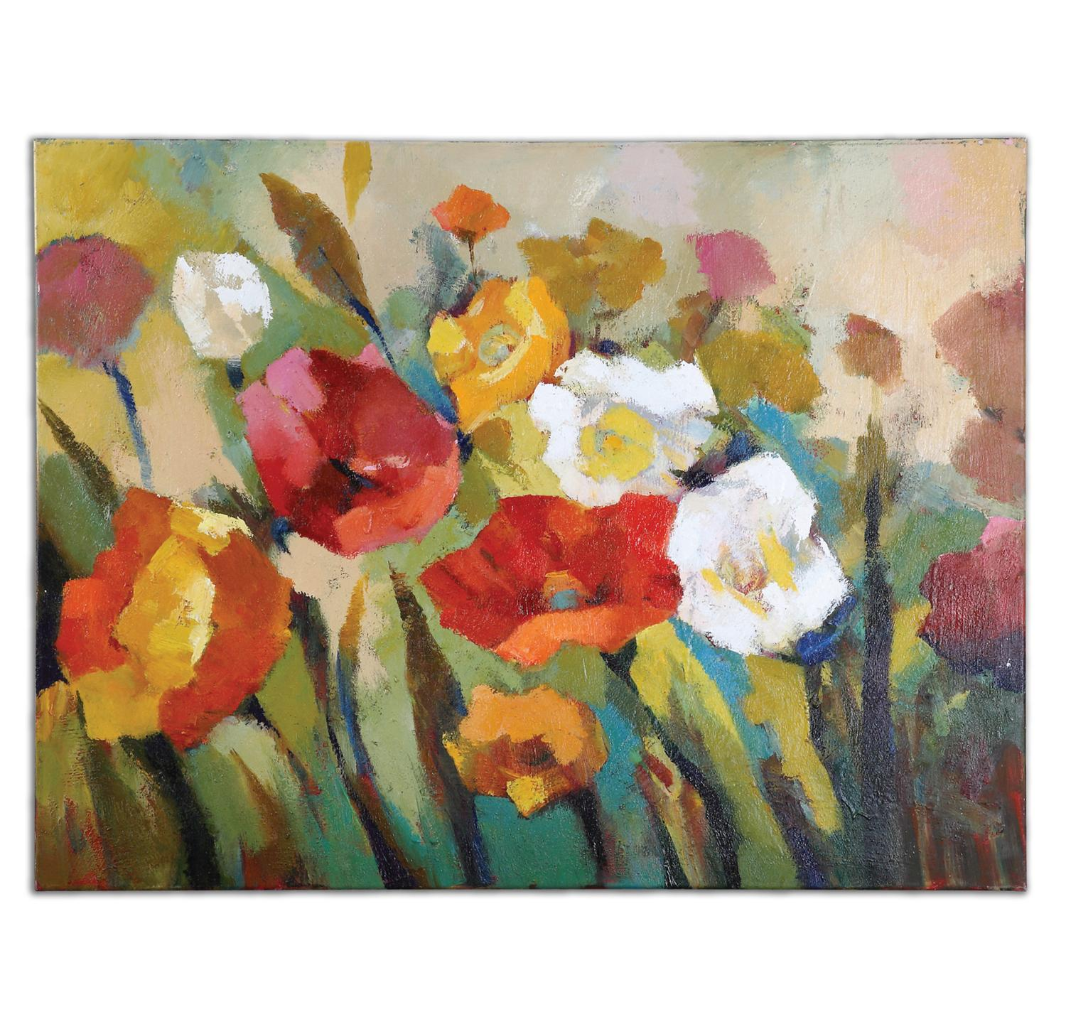 "48"" Hand Painted Impressionist Flower Bed Unframed Stretched Canvas Wall Art"