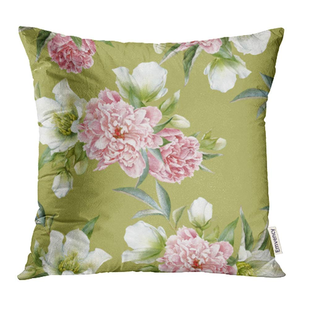 CMFUN Pink Peony Floral with Peonies and Hellebore White Watercolor Bloom Blossom Pillowcase Cushion Cover 16x16 inch
