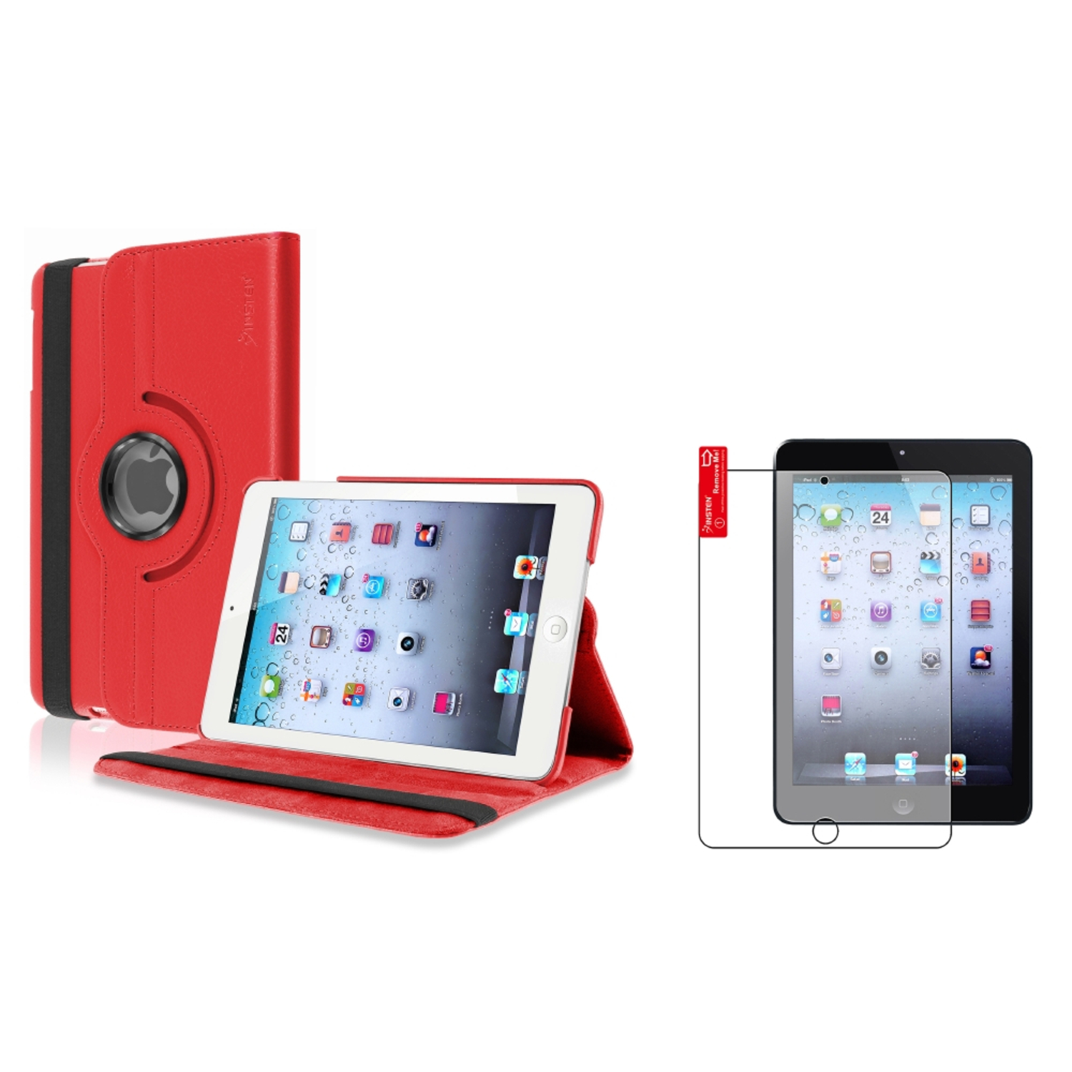 iPad Mini 3/2/1 Case, by Insten Red Swivel Leather Case+Anti-Glare LCD Screen Protector Film For Apple iPad Mini 3/2/1