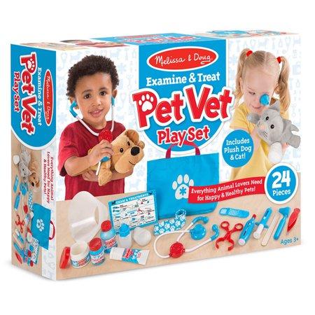 Melissa & Doug Examine & Treat Pet Vet Play Set (B Critter Clinic Toy Vet Play Set)