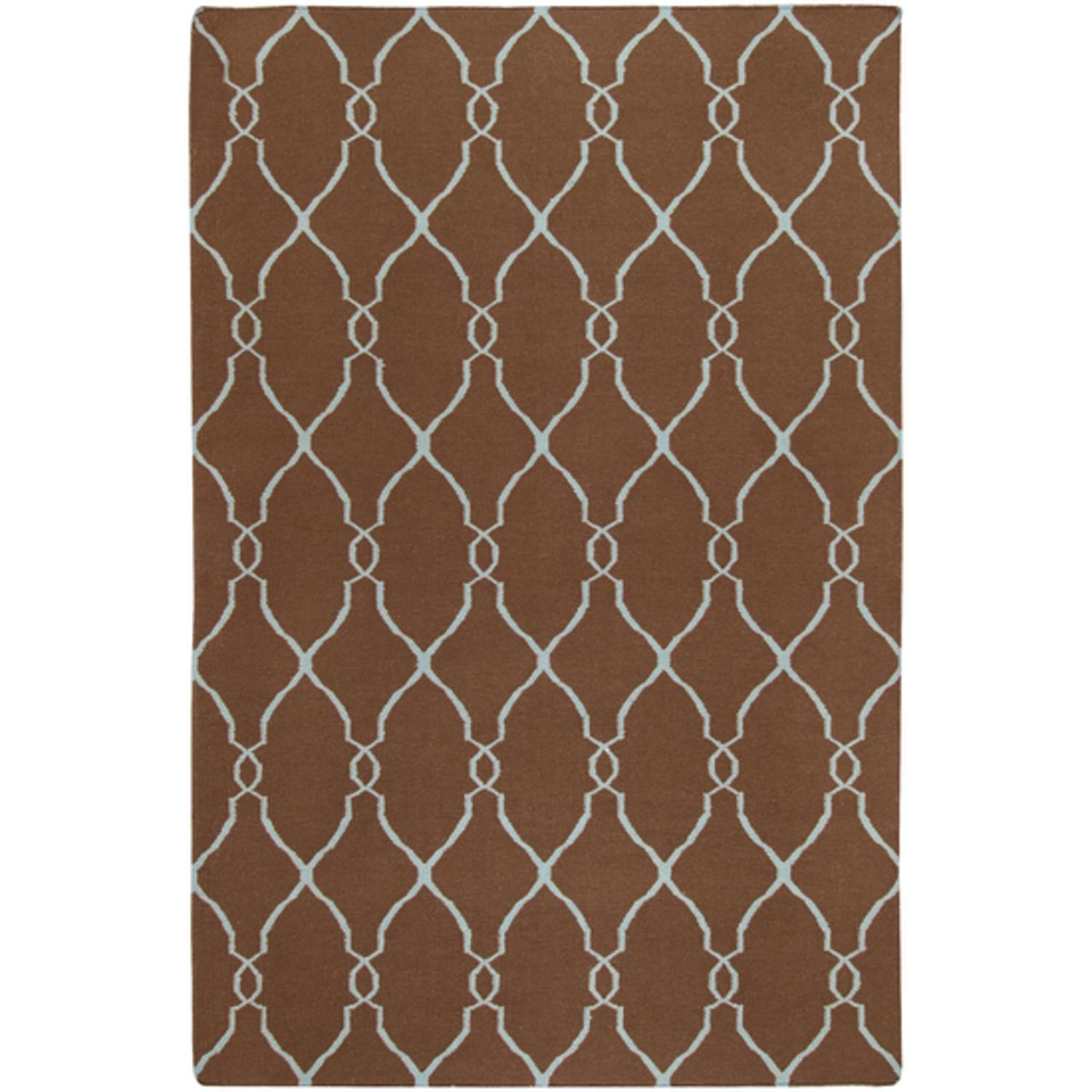 5' x 8' Robin's Egg Mocha Brown and Foggy Blue Hand Woven Wool Area Throw Rug