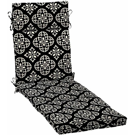 Better Homes & Gardens Black and White Medallion Outdoor Patio Chaise Lounge Cushion, 21