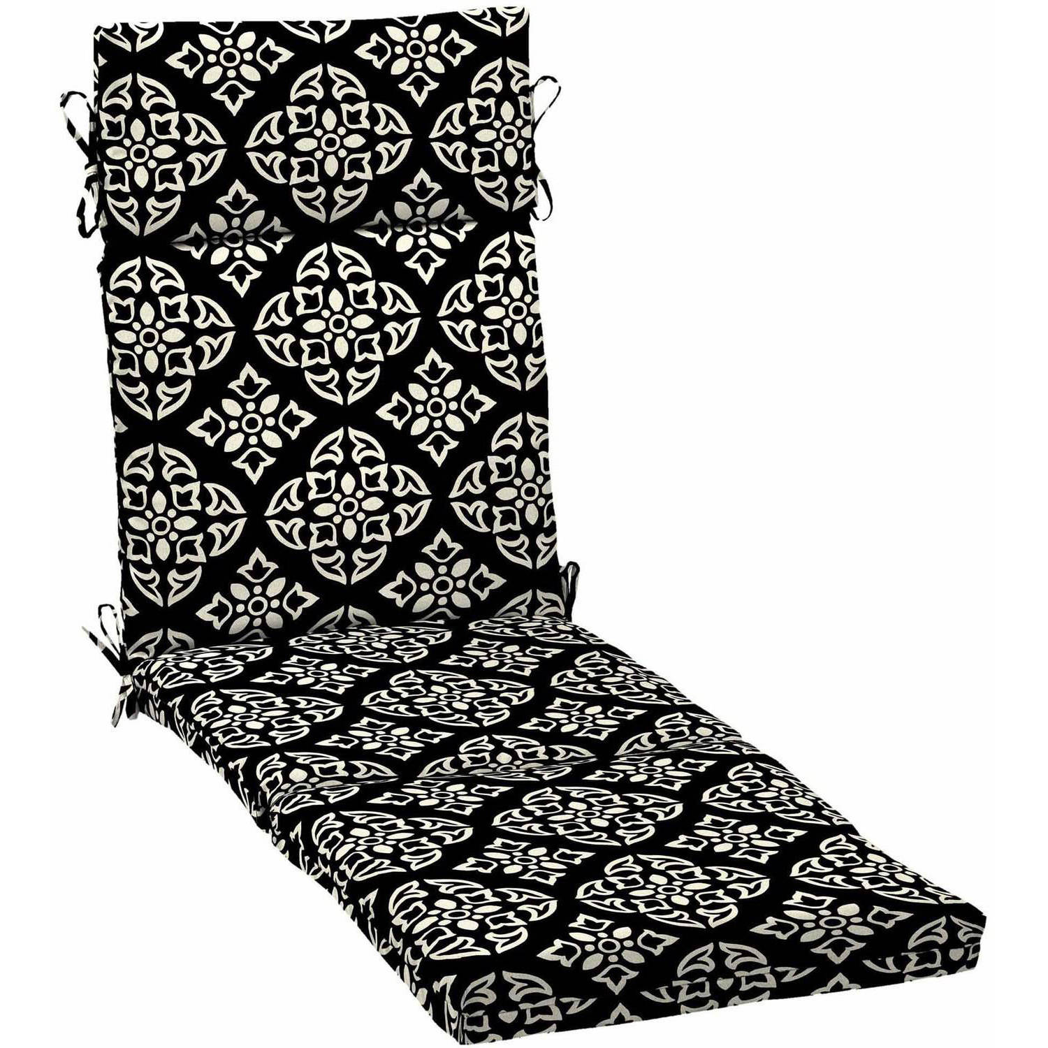 Better Homes and Gardens Outdoor Patio Chaise Lounge Cushion, Black White Medallion