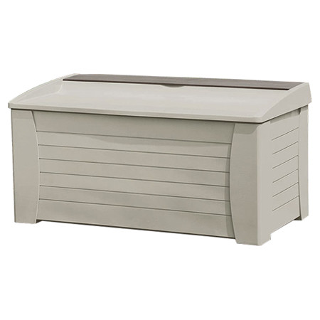Suncast 127 Gallon Deck Box With Seat, Light Taupe, DB12000