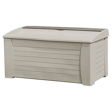 suncast 127 gallon deck box with seat light taupe db12000