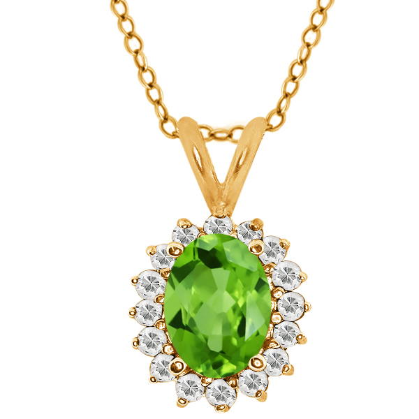 Oval Green Peridot Topaz Gold Plated Sterling Silver  Pendant 1.47 Cttw With 18 Inch Chain