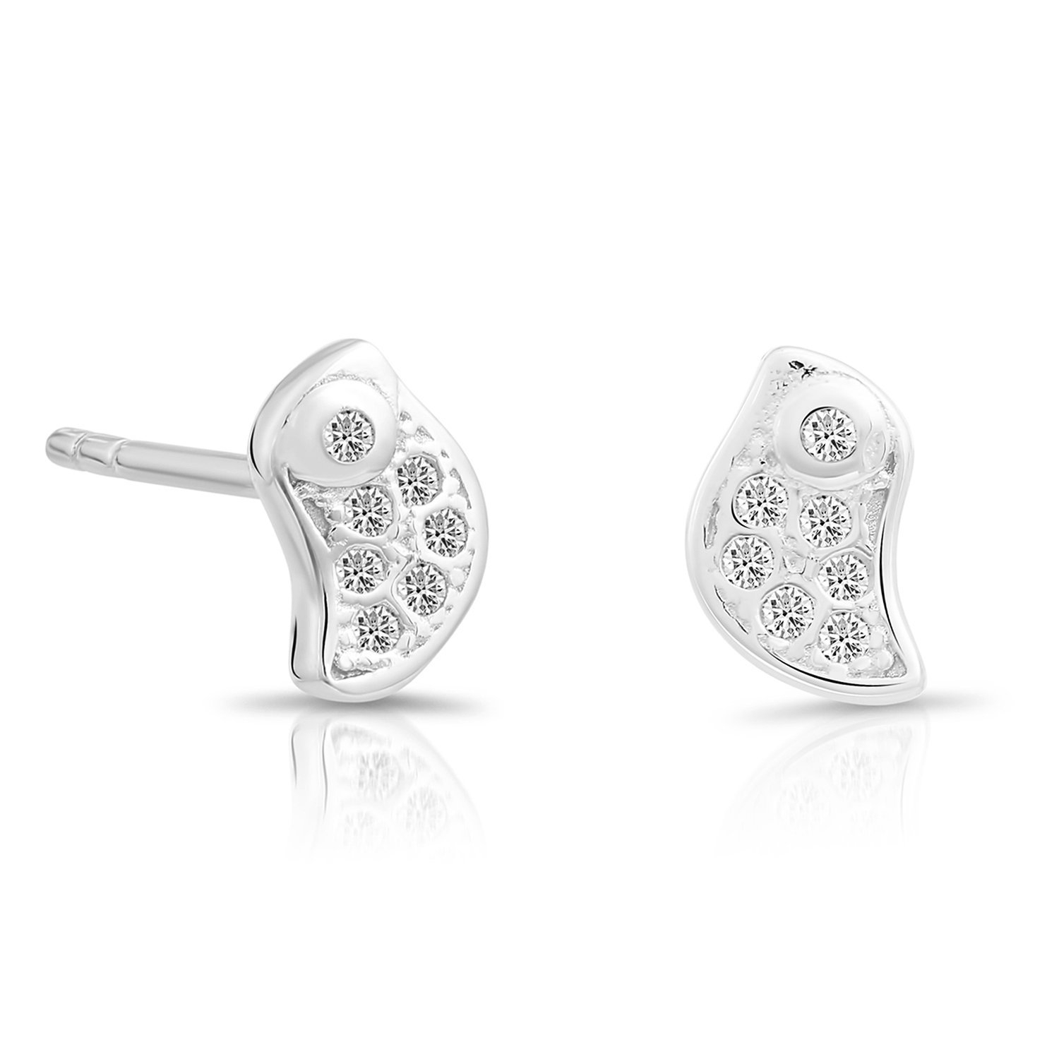 Sterling Silver Tiny Little Bird Stud Earrings with Cubic Zirconia