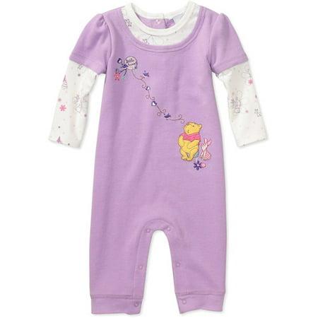 e7426eb4bdc4 Disney - Disney - Newborn Girls  Winnie the Pooh Romper - Walmart.com