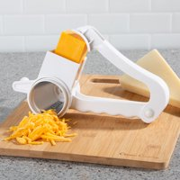 Rotary Grater – Handheld Manual Crank Shredder Kitchen Cooking Accessory with 3 Drums for Cheese, Chocolate, Nuts and Vegetables by Classic Cuisine