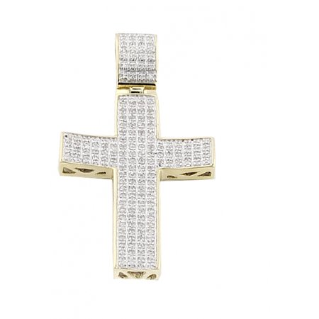 Topaz Cross (1/2cttw Diamond Cross Pendant 10K Yellow Gold 49mm)