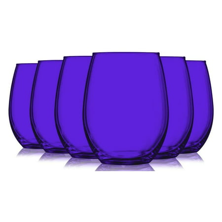 Purple Full Accent Stemless 15 oz Wine Glasses - Set of 6 by TableTop King - Additional Vibrant Colors Available ()