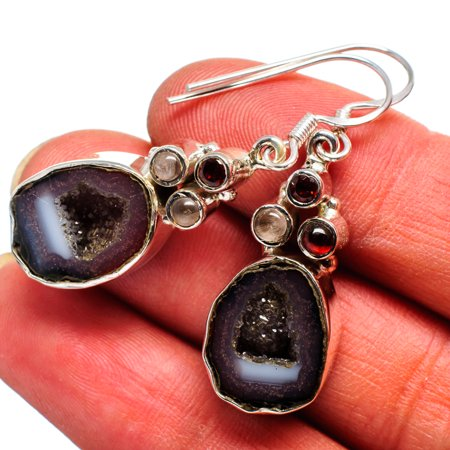 Coconut Geode Druzy, Garnet, Rose Quartz Earrings 1 3/4