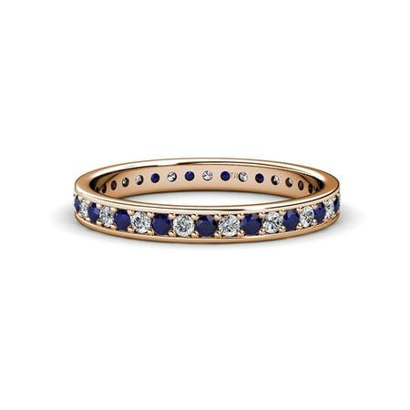 Blue Sapphire & Diamond Channel Prong Eternity Band 0.57-0.66 Carat tw 14K Rose Gold.size 4.0 Blue Diamond Channel Band