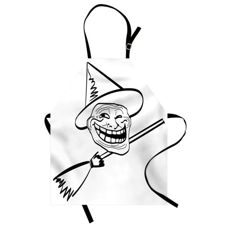 Humor Apron Halloween Spirit Themed Witch Guy Meme Lol Joy Spooky Avatar Artful Image Print, Unisex Kitchen Bib Apron with Adjustable Neck for Cooking Baking Gardening, Black and White, by Ambesonne - Avatar Halloween