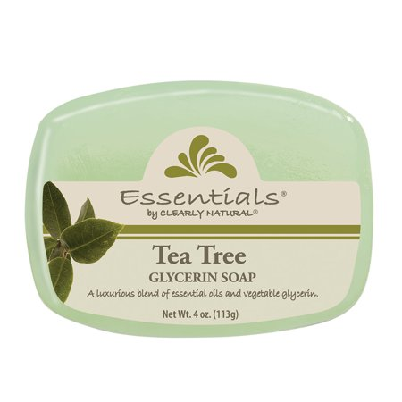 Clearly Natural Essentials Glycerin Bar Soap Tea Tree, 4-Ounces Each