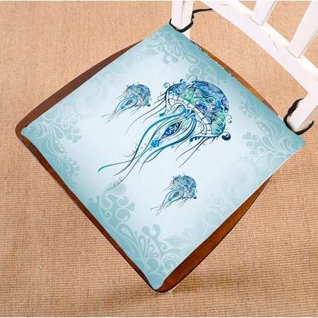 Image of GCKG Jellyfish in the Blue Ocean Chair Pad Seat Cushion Chair Cushion Floor Cushion with Breathable Memory Inner Cushion and Ties Two Sides Printing 16x16 inches