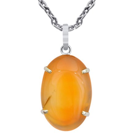 41 Ct Oval Natural Orange Agate 925 Sterling Silver Pendant Free Shipping