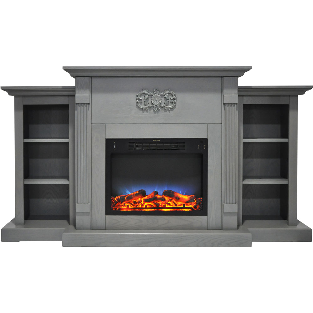 "Cambridge Sanoma Electric Fireplace Heater with 72"" Bookshelf Mantel and Multi-Color LED Flame Display"