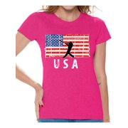 Awkward Styles Baseball USA Women Shirt USA Patriotic Gifts USA Sport T shirt for Women Gifts for Women American Flag Women Tshirt I'm American Pro America T-shirt for Women 4th July Gift