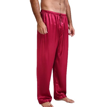 Mens Silk Satin Pajamas Pyjamas Pants Sleep Bottoms Nightwear Sleepwear Trousers Red - Pajama Trousers