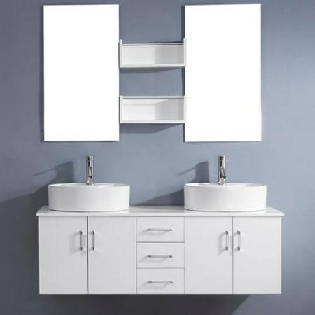 Virtu Usa Enya 59 Inch White Double Sink White Vanity Set