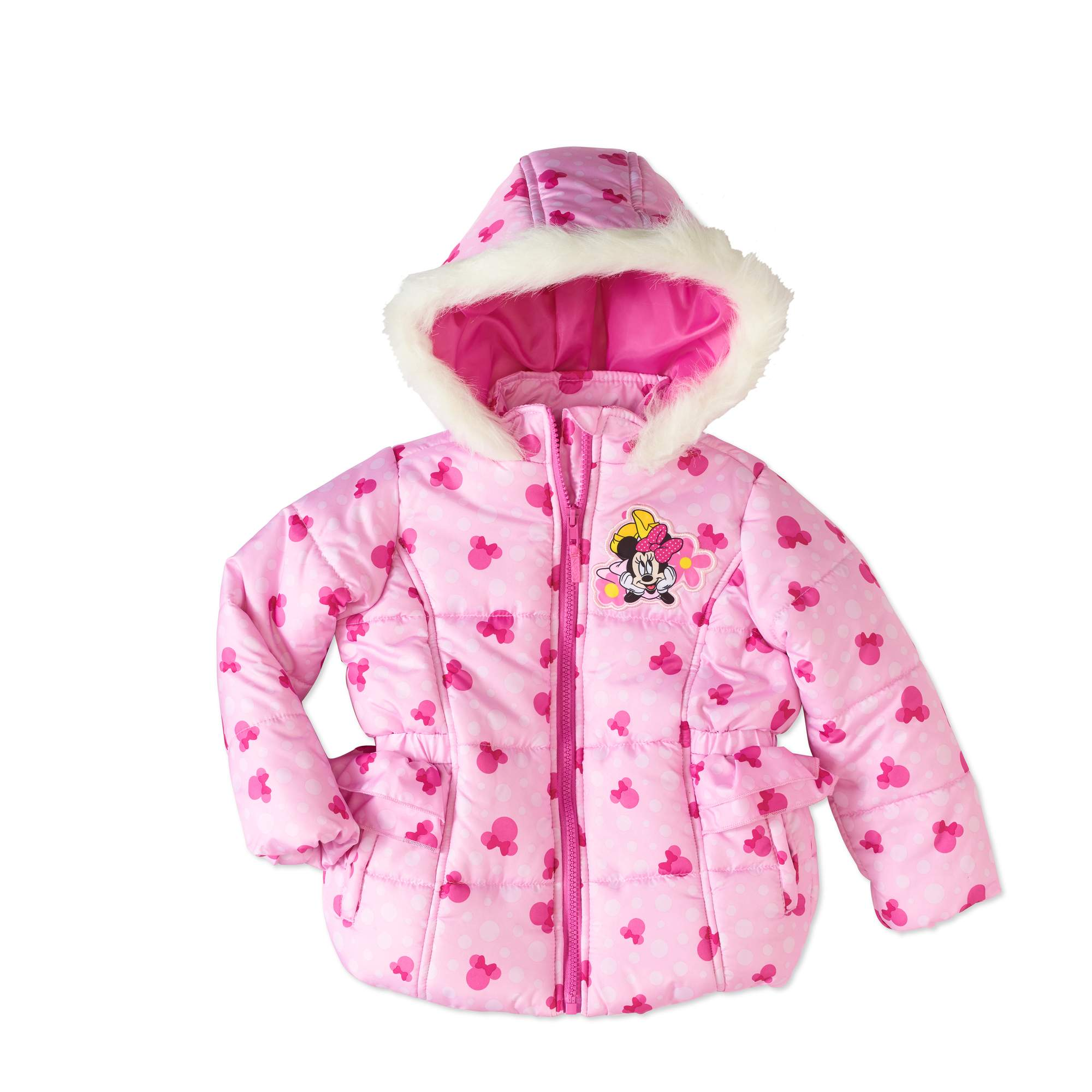 Minnie Mouse Toddler Girls' Faux Fur Hooded Puffer Jacket