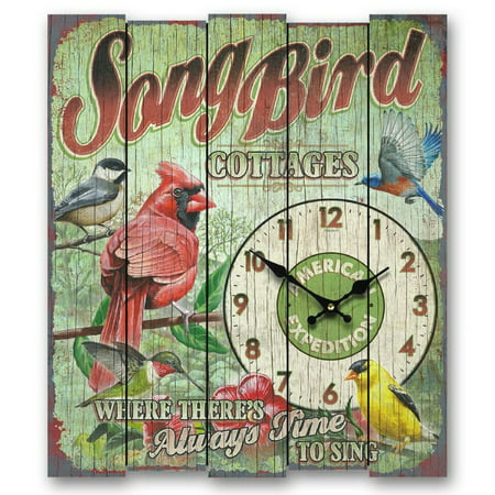 Song Bird Bed/Breakfast Wooden Clock, Large, Multicolor, Printing on Real wooden slats By American Expedition from (American Expeditions Birds)