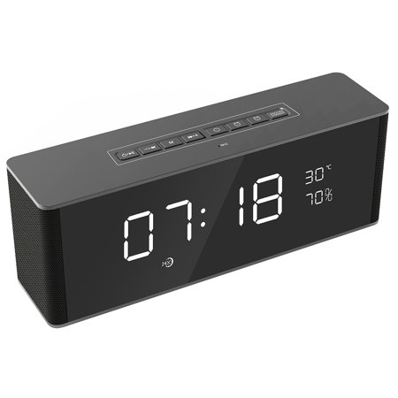 Bluetooth Portable Speaker, Siroflo LP-06 Bluetooth Speaker with Dual Alarm Clock, Temperature, Bluetooth 4.2V, Make-up Mirror, 6 Hours Playtime Portable Speaker for Home, Outdoors, Travel (Make A Clock)