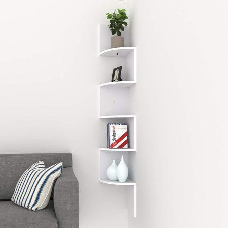 4ft 5 Tier Corner Wall Mount Shelf Zig Zag Decor Home Laminate Shelves White/Black/Brown ()