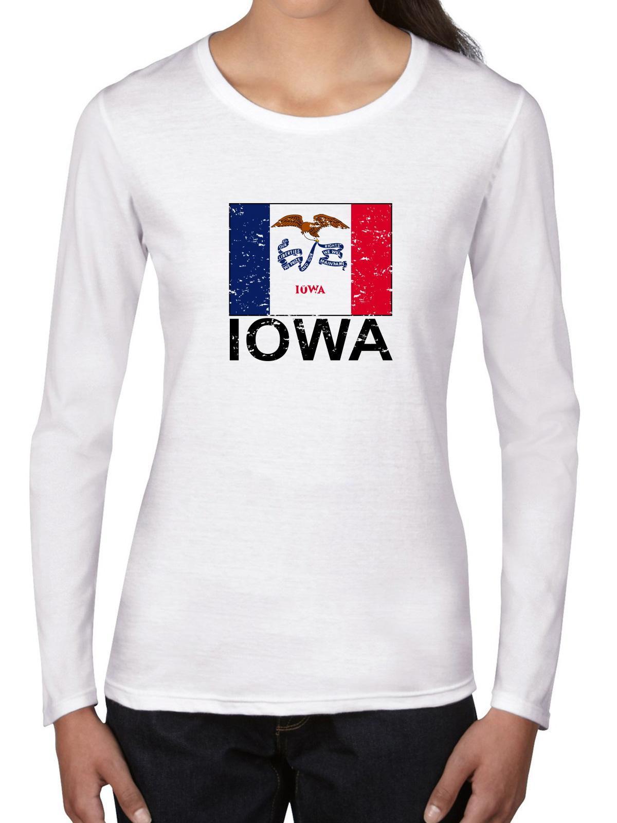 Iowa State Flag Special Vintage Edition Women's Long Sleeve T-Shirt by Hollywood Thread